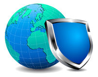 Protection Shield firewall. Shield protecting the world internet from virus's Stock Image