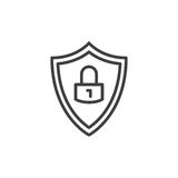 Protection shield with lock line icon, outline vector sign, linear style pictogram isolated on white. Symbol, logo illustration. E. Ditable stroke. Pixel perfect Stock Images