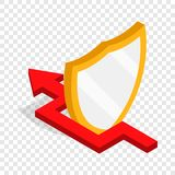 Protection shield and red arrow isometric icon. 3d on a transparent background vector illustration Stock Images