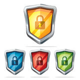 Protection shield security icons. Royalty Free Stock Photo