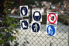 Protection signs. For a radio antenna Royalty Free Stock Photography