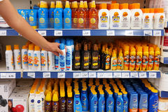 Protection solaire, lotions et pulvérisateurs d'huile Photo libre de droits