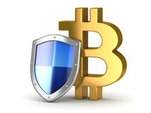 Protection to Bitcoin Money. This is a 3d rendered computer generated image. Isolated on white Royalty Free Stock Photo