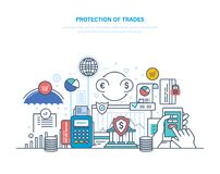 Protection of trade, investment and auctions. Financial stock market, e-commerce. Trade exchange, growth of finance. Protection of transaction, guarantee of Stock Images