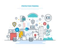 Protection trading. Financial stock market, e-commerce, capital markets, trade exchange. Protection trading. Financial stock market, e-commerce, capital markets Stock Photos