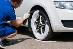 Protection treatment, car tires rubber parts stock images