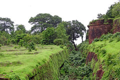 Protection Trench of Cabo de Rama Fort Stock Photo