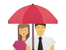 Protection insurance of newlyweds family social concept illustration. Protection umbrella insurance of newlyweds family social concept illustration stock image