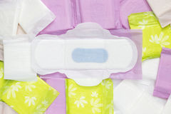Protections de coton sanitaires de règles pour la protection d'hygiène de femme Jours critiques de femme, cycle gynécologique de  photos libres de droits
