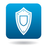 Protective battle shield icon, simple style. Protective battle shield icon in simple style in blue square. Weapon for war symbol Stock Photo