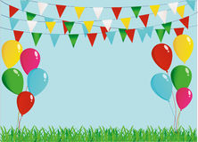A protective card or invitation for a holiday. Green grass. And garland of colorful flags and balloons. Vector. Free space for text Stock Image
