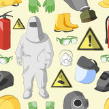 Protective clothing and equipment pattern. Set of tools, signs and protective clothing and equipment for safe work pattern Royalty Free Stock Image