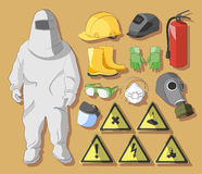 Protective clothing and equipment. Set of tools, signs and protective clothing and equipment for safe work Stock Photo