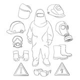 Protective clothing and equipment. Set of tools, signs and protective clothing and equipment for safe work Stock Photography