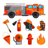 Protective clothing of fireman, boots, helmet, axe and other specific tools. Vector illustrations. Protective clothing of fireman, boots, helmet, axe and other Royalty Free Stock Photography