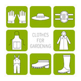 Protective clothing for working in the garden. Flat icons, objects of work clothing. Illustration Stock Photography