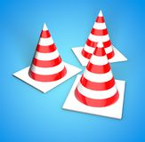 Cones to fence of dangerous areas 3D render illustration on blue. The protective cone. Cones to fence of dangerous areas. Construction red and white cones. The Stock Image