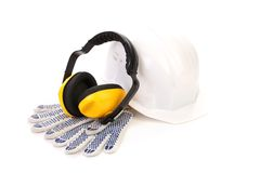 Protective ear muffs and gloves Royalty Free Stock Image