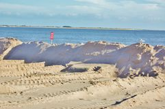 Protective earth mound on the new york shore Royalty Free Stock Photos