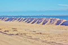 Protective earth mound on the new york shore Stock Image
