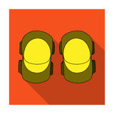 Protective elbow pads for cyclists. Protection for athletes.Cyclist outfit single icon in flat style vector symbol stock. Web illustration Royalty Free Stock Images