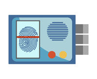 Protective entrance system with fingerprint scanner isolated illustration Stock Photo