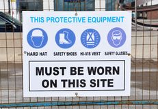 Protective equipment sign. Caution sign to wear protective equipments on the site Stock Image