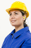 Protective Equipment. A woman wearing protective equipment stock images