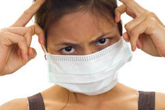Protective face mask on asian Royalty Free Stock Image