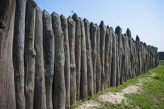Protective fence made of logs of Zaporizhzhya Sich stock image