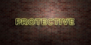 PROTECTIVE - fluorescent Neon tube Sign on brickwork - Front view - 3D rendered royalty free stock picture Royalty Free Stock Images