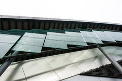 Protective glass on the side walkway overpass Stock Photo