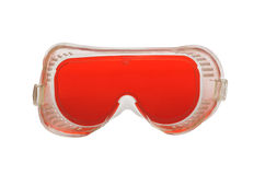 Protective glasses isolated. Protective plastic glasses with bright red glass Royalty Free Stock Image
