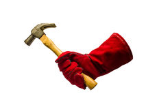 Protective glove and hammer Stock Photography