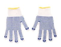 Protective gloves with blue circles. Stock Photos