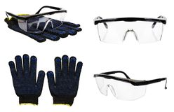Protective gloves and glasses, set and collection