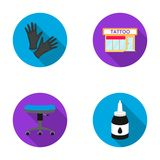 Protective gloves, salon, chair, ink. Tattoo set collection icons in flat style vector symbol stock illustration web. Stock Photo