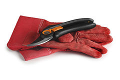 Protective gloves, secateurs Royalty Free Stock Photo