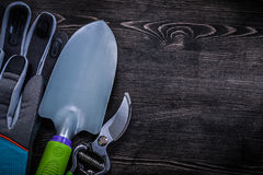 Protective gloves sharp secateurs hand spade on wooden board Royalty Free Stock Photo