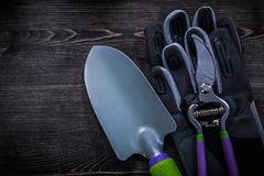 Protective gloves sharp secateurs trowel on wooden board Royalty Free Stock Photo