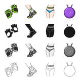 Protective gloves, sneakers on the leg, waist measurement, gymnastic ball. Fitness set collection icons in cartoon black Royalty Free Stock Photos