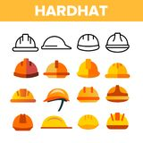 Protective Hard Hat Vector Color Icons Set stock photography