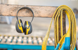 Protective headphone in industrial factory Royalty Free Stock Photography