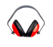 Protective headphones on white background Stock Photos