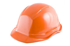 Protective helmet. Protective orange helmet on the white background Stock Photos