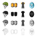 Protective helmet of a bicyclist, knee pads, outfit overalls, timer. Cyclist outfit set collection icons in cartoon. Black monochrome outline style vector Stock Photo