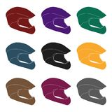 Protective helmet for cyclists. Protection for the head athletes.Cyclist outfit single icon in black style vector symbol. Stock web illustration Royalty Free Stock Photography