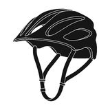 Protective helmet for cyclists. Protection for the head athletes.Cyclist outfit single icon in black style vector symbol. Stock web illustration Stock Photo