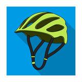Protective helmet for cyclists. Protection for the head athletes.Cyclist outfit single icon in flat style vector symbol. Stock web illustration Royalty Free Stock Image