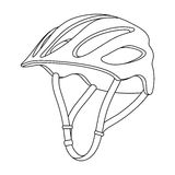 Protective helmet for cyclists. Protection for the head athletes.Cyclist outfit single icon in outline style vector. Symbol stock web illustration Stock Image